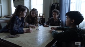Hunted- Judith, Gracie, RJ, and Hershel play Slap- AMC, The Walking Dead