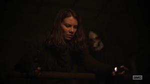 Hunted- Reaper behind Maggie- AMC, The Walking Dead
