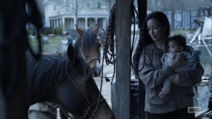 Hunted- Rosita brings baby Coco to see the horses- AMC, The Walking Dead
