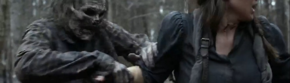 Hunted- Walker about to bite Agatha- AMC, The Walking Dead