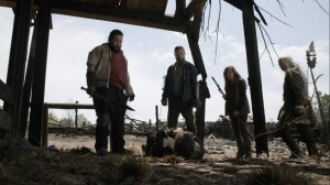 Out of the Ashes- Aaron and Jerry interrogate the Whisperer named Keith- AMC, The Walking Dead