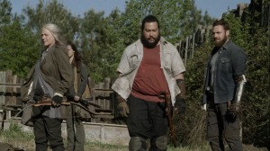 Out of the Ashes- Carol, Lydia, Jerry, and Aaron arrive at Hilltop- AMC, The Walking Dead