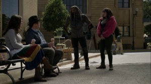 Out of the Ashes- Ezekiel and Princess catch up with Eugene and fake Stephanie- AMC, The Walking Dead