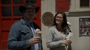 Out of the Ashes- Fake Stephanie, played by Chelle Ramos, has ice cream with Eugene- AMC, The Walking Dead