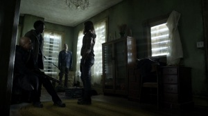 Out of the Ashes- Gabriel and Elijah arrive at the satellite house- AMC, The Walking Dead