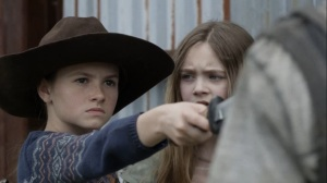Out of the Ashes- Judith threatens one of the bullies- AMC, The Walking Dead