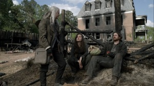 Out of the Ashes- Keith tells Carol, Lydia, Jerry, and Aaron that he saw Connie leave the cave- AMC, The Walking Dead