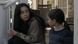Out of the Ashes- Rosita tells Judith that she'll always remember Rick and Carl- AMC, The Walking Dead