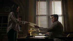 Out of the Ashes- Yumiko shows her letter to a Commonwealth clerk- AMC, The Walking Dead
