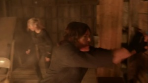 Rendition- Leah and Daryl trapped in the burning building- AMC, The Walking Dead