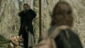 Rendition- Leah points her gun at Daryl- AMC, The Walking Dead