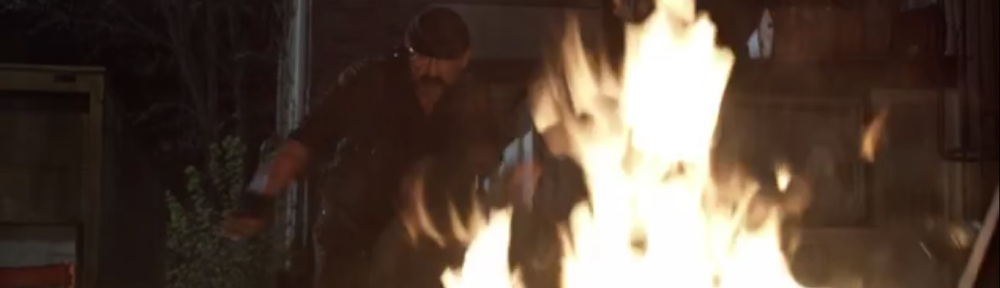 Rendition- Pope tosses one of the Reapers onto the fire- AMC, The Walking Dead
